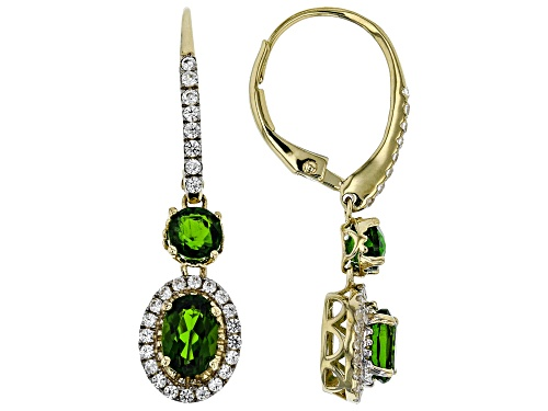 Photo of 2.04ctw Oval & Round Russian Chrome Diopside With .60ctw Round White Zircon 10k Yellow Gold Earrings