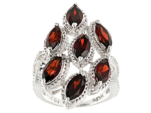 Photo of 4.80ctw Marquise Red Garnet Sterling Silver Ring - Size 5