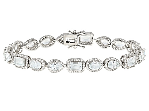 Photo of 10.88ctw Pear Shape, Oval And Emerald Cut Aquamarine With 3.92ctw Round White Zircon Silver Bracelet - Size 8