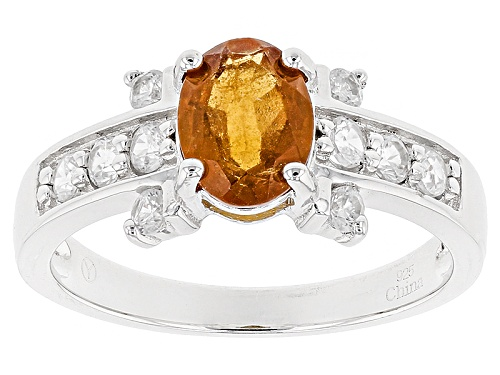 Photo of 1.70ct Oval Hessonite Garnet With .57ctw Round White Zircon Sterling Silver Ring - Size 11