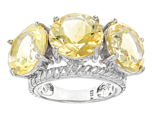 Photo of 18.00ctw Round Brazilian Citrine Sterling Silver 3-Stone Ring - Size 5