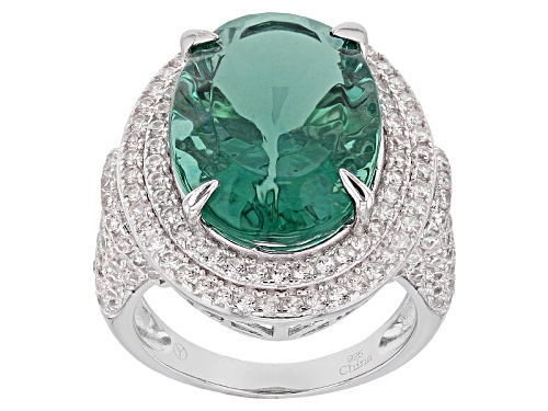 Photo of 15.25ct Oval Teal Fluorite With 2.75ctw Round White Zircon Sterling Silver Ring - Size 5