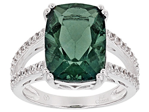 Photo of 8.00ct Rectangular Cushion Teal Fluorite With .74ctw Round White Zircon Sterling Silver Ring - Size 11