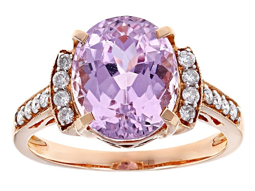 Photo of 5.30ct Oval Kunzite With .22ctw Round White Diamond 14k Rose Gold Ring - Size 7