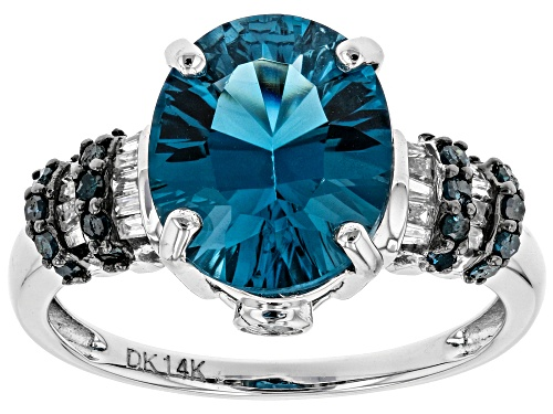 Photo of 4.00ct Oval London Blue Topaz, .16ctw Blue Diamond, .09ctw White Diamond Accent 14k White Gold Ring - Size 7