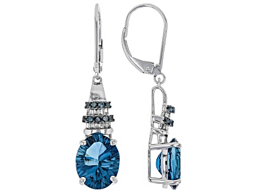 Photo of 5.60ctw London Blue Topaz With .26ctw White And Blue Diamonds Rhodium Over 14k White Gold Earrings