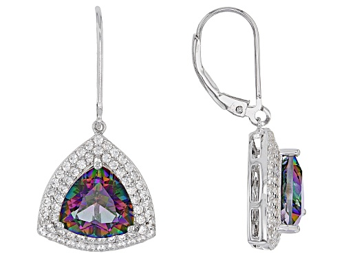 Photo of 6.50ctw Trillion Multi Color Mystic Topaz® With 1.08ctw Round White Zircon Silver Earrings