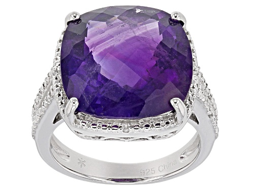 Photo of 12.15ct Square Cushion, Checkerboard African Amethyst With .05ctw Round White Zircon Silver Ring - Size 6