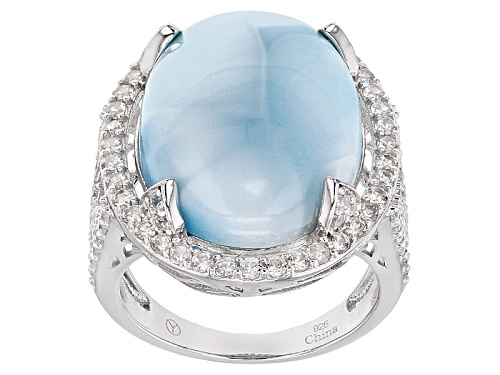 Photo of 20x15mm Oval Cabochon Larimar With 2.00ctw Round White Zircon Sterling Silver Ring - Size 6