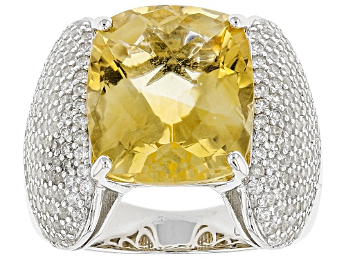 Photo of 7.60ct Rectangular Cushion, Checkerboard Cut Citrine With 1.75ctw Round White Zircon Silver Ring - Size 12