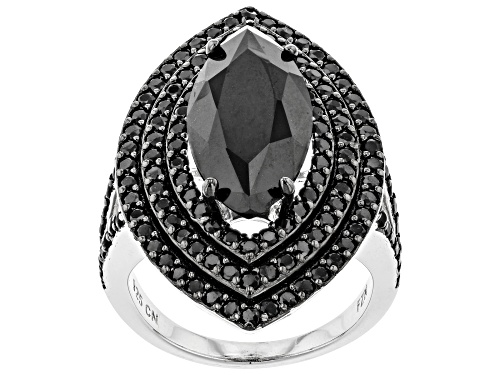Photo of 9.50ct Marquise And 2.53ctw Round Black Spinel Sterling Silver Ring - Size 5