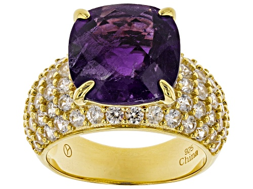 Photo of 5.75ct Square Cushion African Amethyst, 3.10ctw Round White Zircon 18k Yellow Gold Over Silver Ring - Size 9