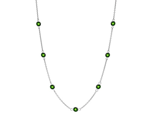 Photo of 2.75ctw Round Russian Chrome Diopside Sterling Silver Station Necklace - Size 18