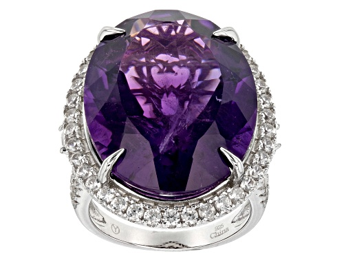 Photo of 25.00CT OVAL AFRICAN AMETHYST WITH 2.50CTW ROUND WHITE ZIRCON RHODIUM OVER STERLING SILVER RING - Size 8