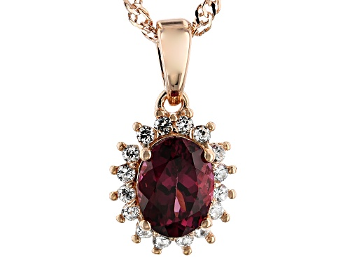 Photo of 1.15ct Oval Blush Color Garnet & .36ctw Zircon 18k Rose Gold Over Silver Halo Pendant With Chain