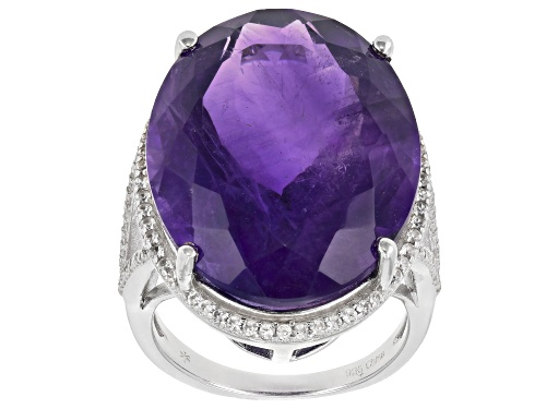 Photo of 25.00CT OVAL AFRICAN AMETHYST WITH .60CTW ROUND WHITE ZIRCON STERLING SILVER RING - Size 7
