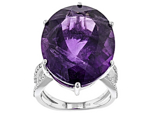 25.00.CT OVAL AFRICAN AMETHYST WITH .47CTW ROUND WHITE ZIRCON STERLING SILVER RING - Size 6