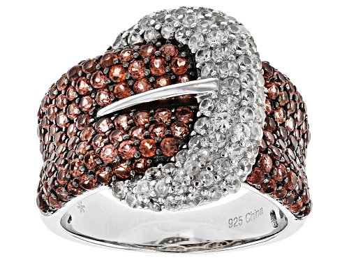 Photo of 2.45CTW ROUND RED GARNET WITH 1.35CTW ROUND WHITE ZIRCON STERLING SILVER BUCKLE RING - Size 6