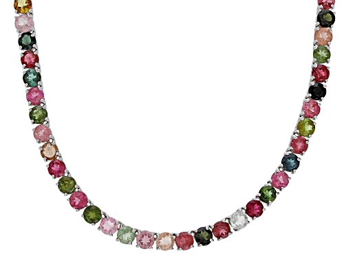 Photo of 27.50CTW ROUND MULTI TOURMALINE RHODIUM OVER STERLING SILVER TENNIS NECKLACE - Size 20