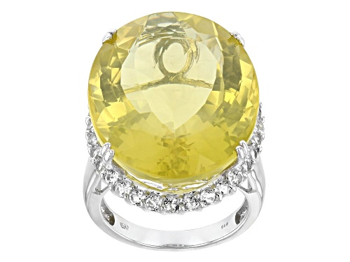 Photo of 32.00CT OVAL CANARY YELLOW QUARTZ WITH 1.00CTW ROUND WHITE TOPAZ STERLING SILVER RING - Size 8