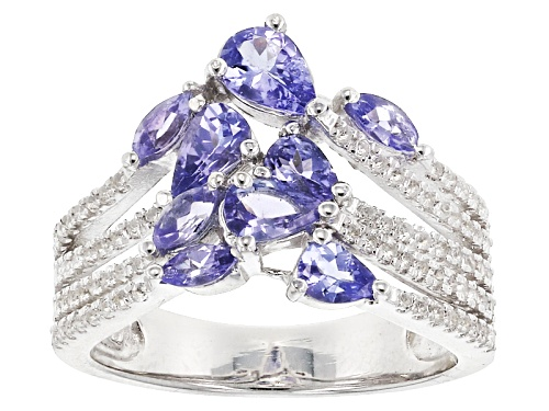 Photo of 1.30CTW PEAR SHAPE & MARQUISE TANZANITE WITH .40CTW ROUND WHITE TOPAZ RHODIUM OVER SILVER RING - Size 7