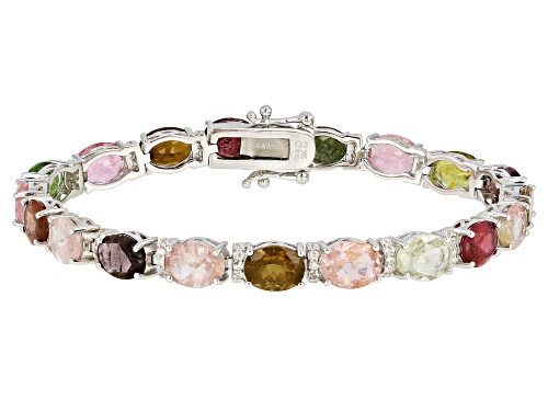 Photo of 20.00CTW OVAL MULTI TOURMALINE WITH .85CTW ROUND WHITE ZIRCON RHODIUM OVER SILVER BRACELET - Size 7.25