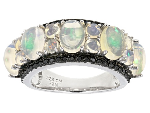 Photo of 3.01CTW OVAL & AND ROUND CABOCHON ETHIOPIAN OPAL, .49CTW ROUND BLACK SPINEL RHODIUM OVER SILVER RING - Size 7