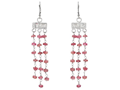 Photo of 10.00CTW ROUND PINK TOURMALINE RHODIUM OVER STERLING SILVER DANGLE EARRINGS