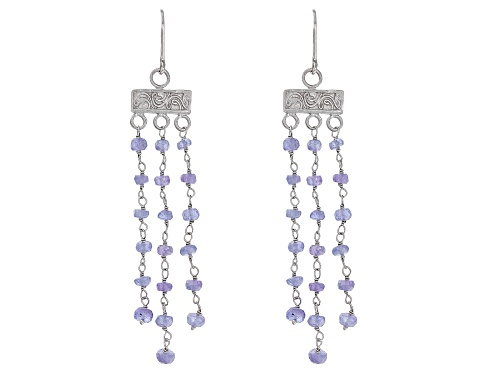 Photo of 10.00CTW ROUND TANZANITE RHODIUM OVER STERLING SILVER DANGLE EARRINGS