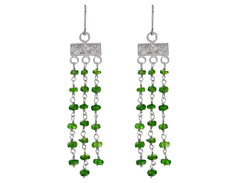 Photo of 10.00CTW ROUND CHROME DIOPSIDE RHODIUM OVER STERLING SILVER DANGLE EARRINGS