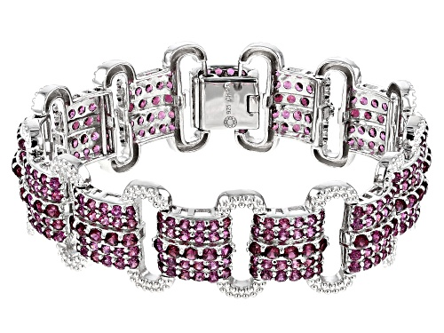Photo of 23.00CTW ROUND RASPBERRY COLOR RHODOLITE RHODIUM OVER STERLING SILVER BRACELET - Size 7.25