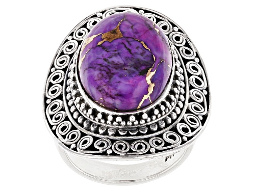 Photo of 18X13MM OVAL CABOCHON PURPLE TURQUOISE STERLING SILVER RING - Size 6