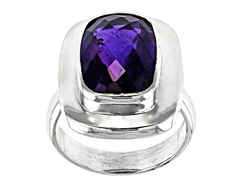 Photo of 6.00CT RECTANGULAR CUSHION, CHECKERBOARD CUT AFRICAN AMETHYST STERLING SILVER RING - Size 6