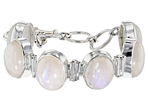 Photo of 16X12MM CABOCHON RAINBOW MOONSTONE STERLING SILVER  ADJUSTABLE BRACELET. - Size 7.25