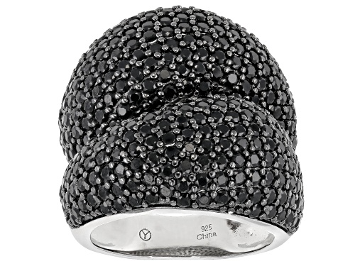Photo of 7.00CTW ROUND BLACK SPINEL RHODIUM OVER STERLING SILVER RING - Size 6