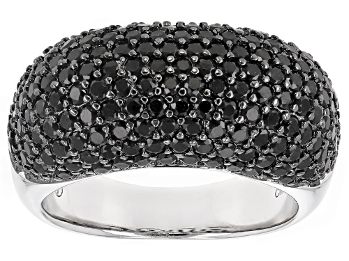 Photo of 3.28CTW ROUND BLACK SPINEL RHODIUM OVER STERLING SILVER RING - Size 5
