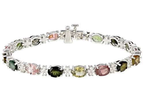 Photo of 13.00CTW OVAL MULTI TOURMALINE WITH .16CTW ROUND WHITE ZIRCON RHODIUM OVER SILVER BRACELET - Size 7.25