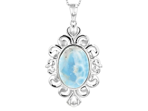 Photo of 25X18MM OVAL CABOCHON LARIMAR RHODIUM OVER STERLING SILVER PENDANT WITH CHAIN