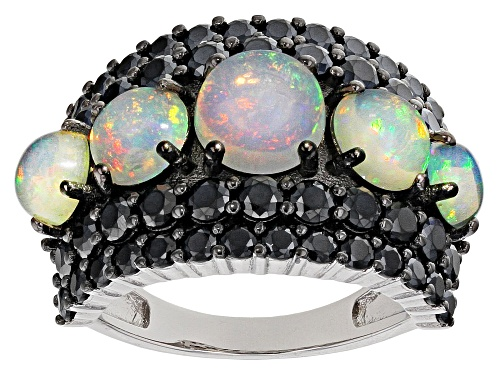 Photo of 2.73CTW ROUND CABOCHON ETHIOPIAN OPAL WITH 3.24CTW ROUND BLACK SPINEL RHODIUM OVER SILVER RING - Size 7
