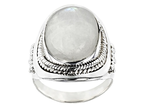 Photo of 16X12MM OVAL CABOCHON MOONSTONE STERLING SILVER SOLITAIRE RING - Size 6