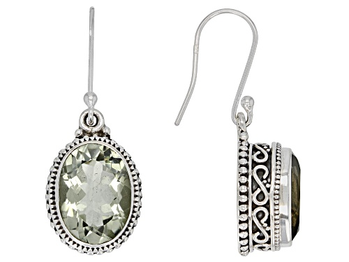 Photo of 10.0CTW OVAL BRAZILIAN PRASIOLITE STERLING SILVER SOLITAIRE EARRINGS