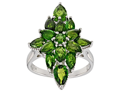 Photo of 3.56CTW PEAR SHAPE & ROUND RUSSIAN CHROME DIOPSIDE RHODIUM OVER SILVER RING - Size 6