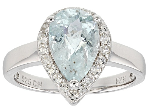 Photo of 1.55CT PEAR SHAPE BRAZILIAN AQUAMARINE WITH .46CTW ROUND WHITE ZIRCON RHODIUM OVER SILVER RING - Size 12