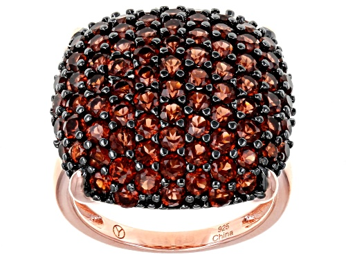 Photo of 5.25CTW ROUND RED GARNET 14K ROSE GOLD OVER STERLING SILVER DOME RING - Size 6