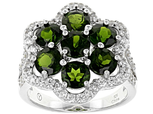 Photo of 3.50CTW OVAL RUSSIAN CHROME DIOPSIDE WITH 1.10CTW ROUND WHITE ZIRCON RHODIUM OVER SILVER RING - Size 8