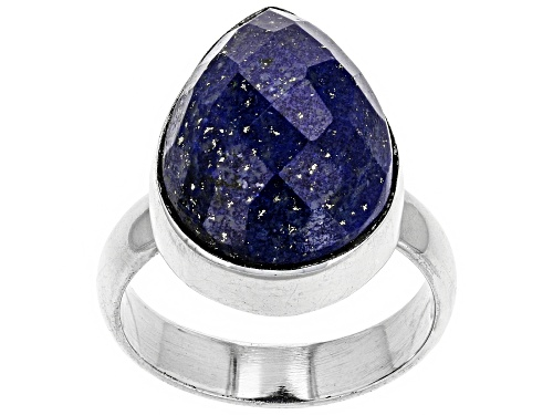 Photo of 18X13MM PEAR, CHECKERBOARD CUT LAPIS LAZULI RHODIUM OVER SILVER SOLITAIRE RING - Size 6