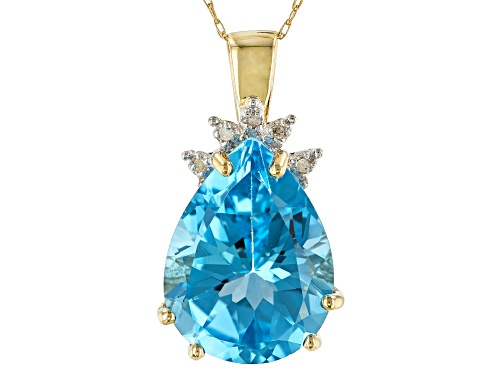 Photo of 7.00CT PEAR SHAPE BLUE TOPAZ WITH .02CTW 5 ROUND WHITE DIAMOND ACCENT 10K YELLOW GOLD PENDANT, CHAIN