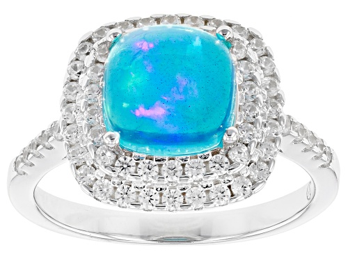 Photo of 1.45CT SQUARE CUSHION CABOCHON  BLUE OPAL, .50CTW ROUND WHITE ZIRCON RHODIUM OVER SILVER RING - Size 10