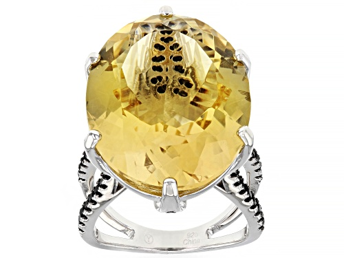 Photo of 20.00CT OVAL BRAZILIAN CITRINE WITH .78CTW ROUND BLACK SPINEL RHODIUM OVER SILVER RING - Size 7