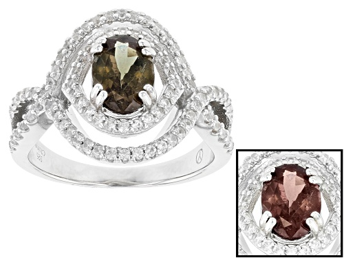 Photo of 1.25CT OVAL COLOR CHANGE GARNET WITH .64CTW RD WHITE ZIRCON RHODIUM OVER SILVER RING - Size 12